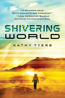 <strong>***2019 Christy Award Winner, Visionary***</strong>  Kathy's science fiction novel<em>Shivering World</em> has been re-released by Enclave Books with stunning new cover art.  When Gaea Consortium offers Graysha Brady-Phillips a tour of hazard duty on a raw pioneer planet she leaps at the chance, even though her predecessor died—a victim of either the savage weather outside the domes or the fanatic population within. But Graysha isn't on Goddard just to collect triple pay. She's trying to save her life. The colonists' radical—and illegal—science just might offer Graysha a cure for the genetic disease that's slowly starving her at the cellular level. But Goddard's terraforming pioneers, pursued by the Eugenics Board for gene tampering and battling Gaea Consortium for their very survival, are naturally suspicious of outsiders—especially someone connected to the two organizations that are trying hardest to destroy them. The settlers think Graysha's a spy. Graysha thinks the settlers are trying to kill her. They're both right. And the fate of their planet hangs in the balance.